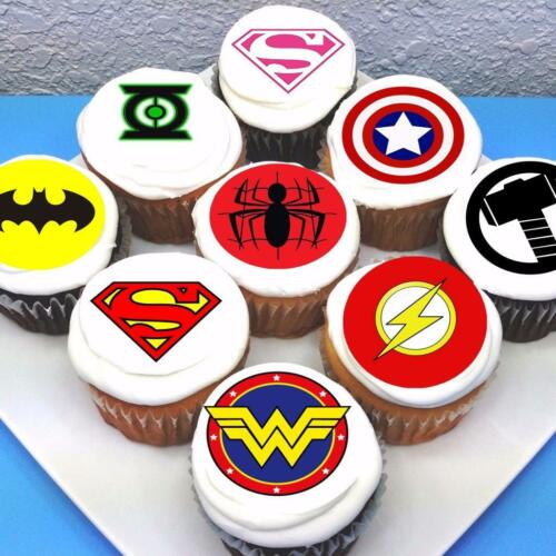 PRE-CUT Superhero Logo Edible Icing Cupcake Toppers Sheet of 15