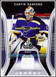 UD-SP-GAME-USED-SPGU-2006-07-CURTIS-SANFORD-NHL-BLUES-FABRICS-GAME-JERSEY-AFCS