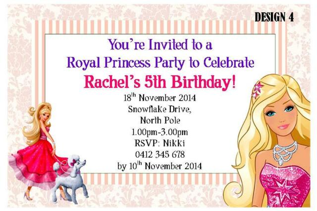 20 X BARBIE GIRLS CHILDRENS BIRTHDAY PERSONALISED INVITATIONS FREE MAGNETS