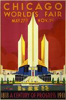 Vintage 1933 Chicago World's Fair Poster Print 36x24