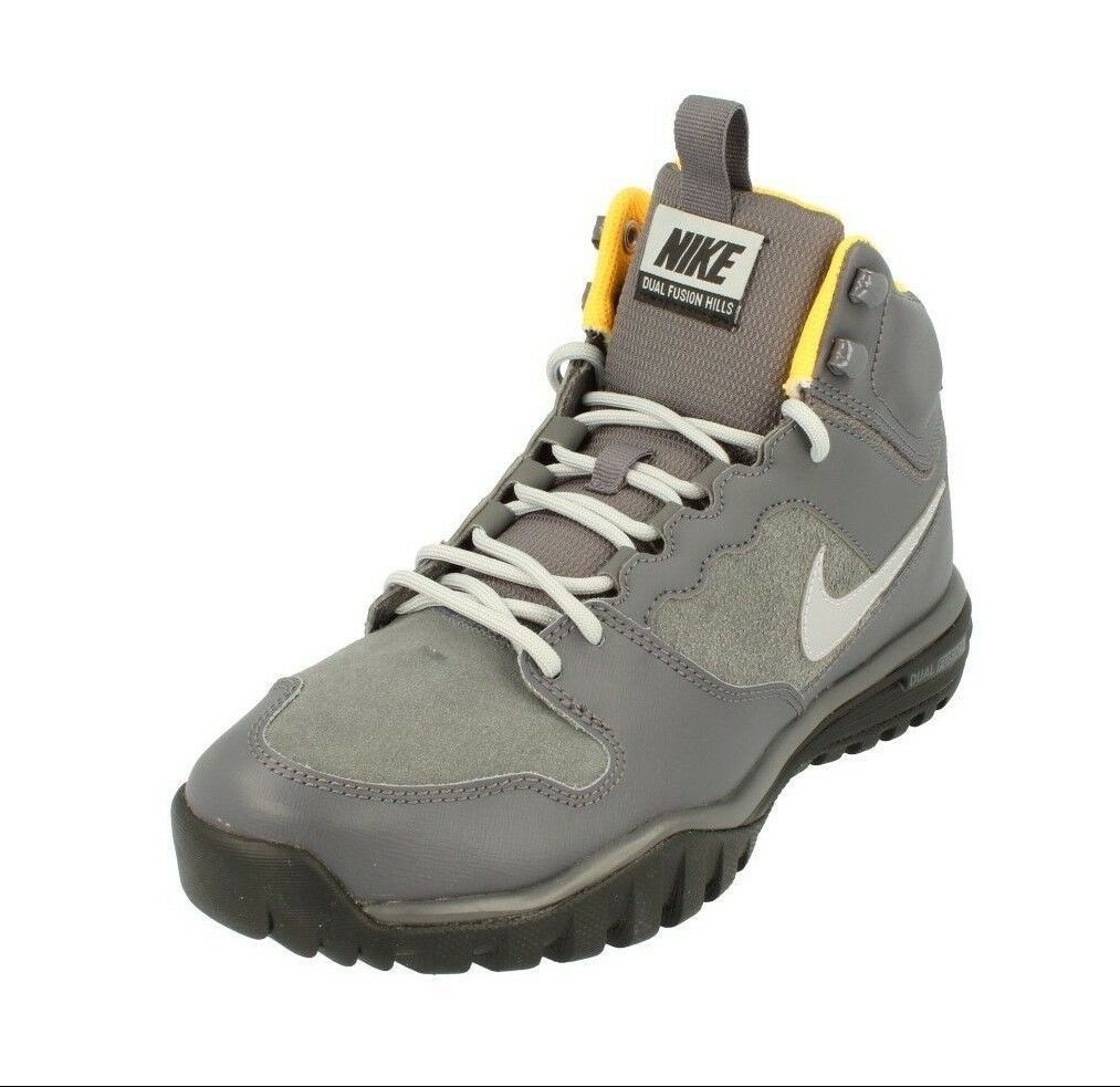 NIKE DUAL FUSION HILLS MID LEATHER HIKING BOOTS  - GREY 695784 001 -
