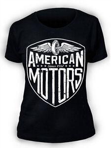 American-MOTORI-T-SHIRT-SERIGRAFATO-DONNA-MOTOCICLISTA-USA-Retro