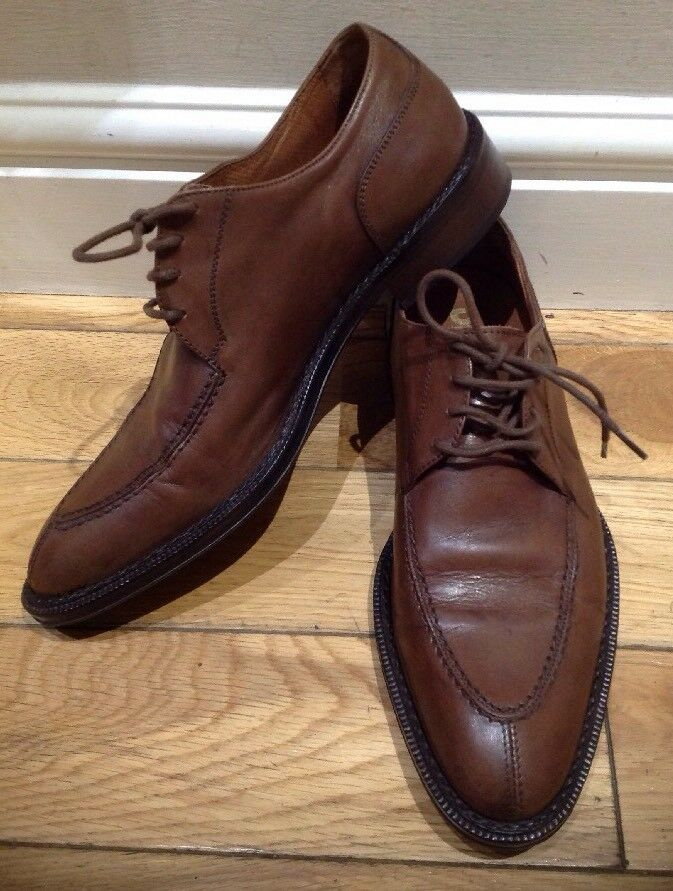 Men's Brown 100% Leather shoes size 40 Deja Vero Cuoio Made In