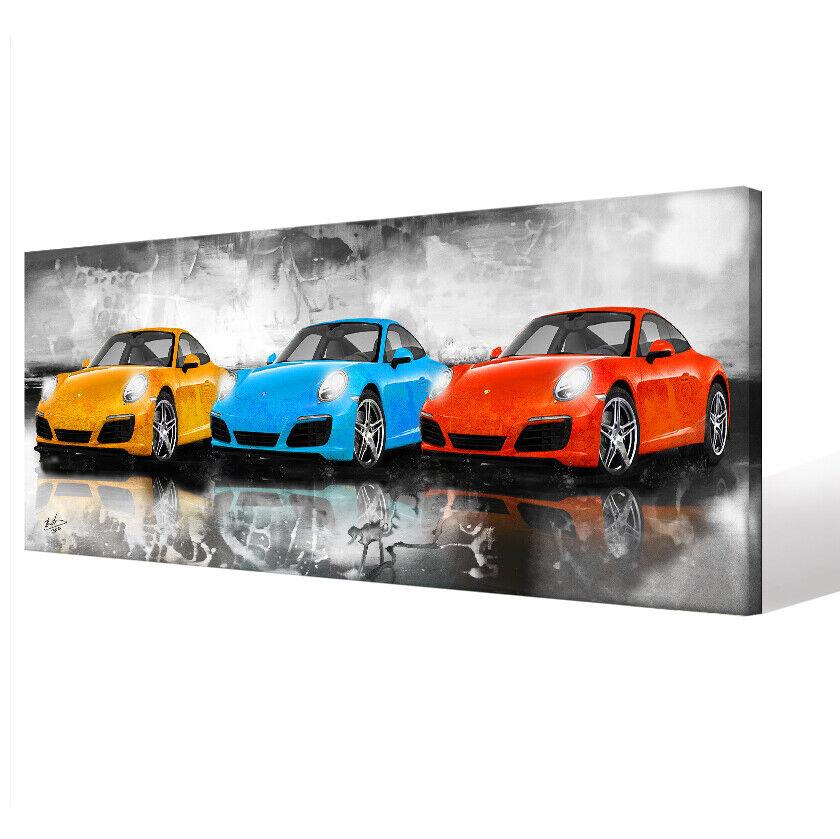 PORSCHE 911 GT3 CARRERA Auto Abstrakt Panorama Bilder Leinwand Wandbild XXL 2645