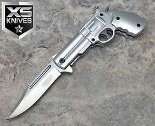 JTEC Spring Assisted PISTOL Revolver Gun SILVER Folding Pocket Knife JT161