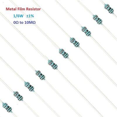 0Ω to 10MΩ 100PCS 1//4W 0.25W Metal Film Resistor ±1/% Full Range of Values
