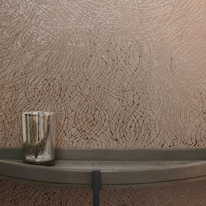 Feuille Tourbillon Papier Peint Or Rose Arthouse 294101 Metallique
