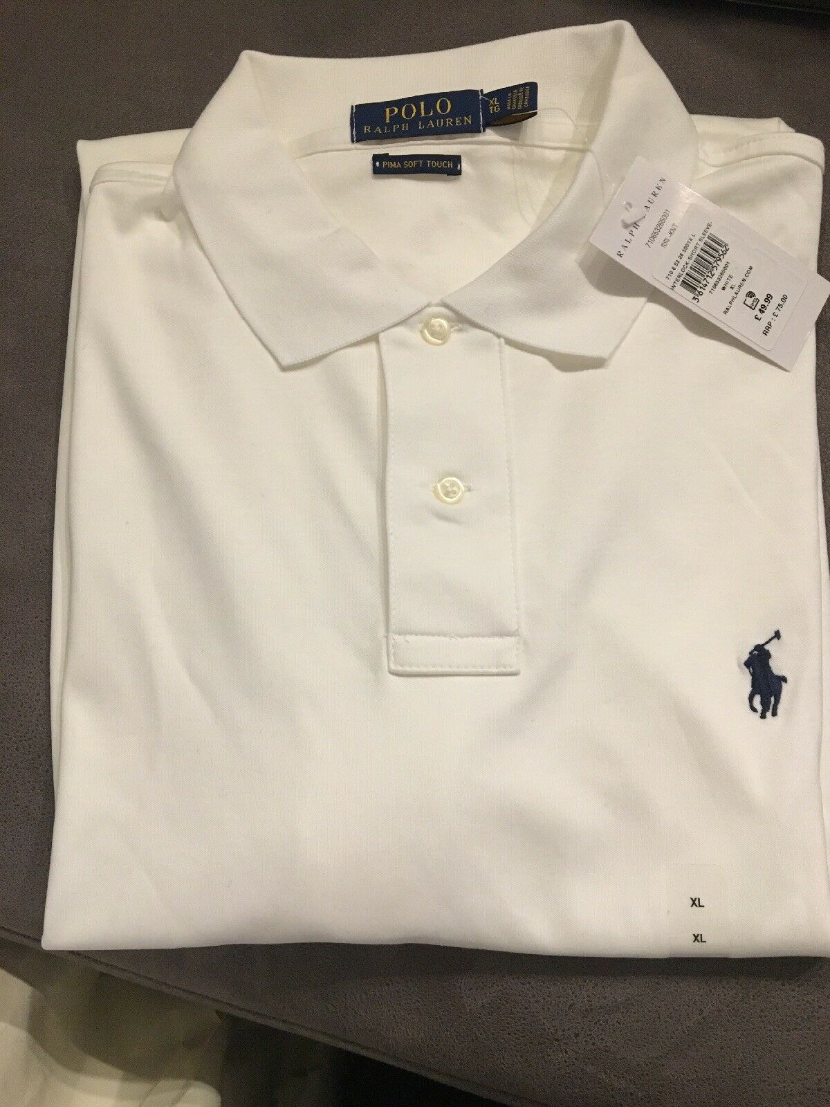 Ralph Lauren Polo Shirt White size XL RRP  Short sleeve