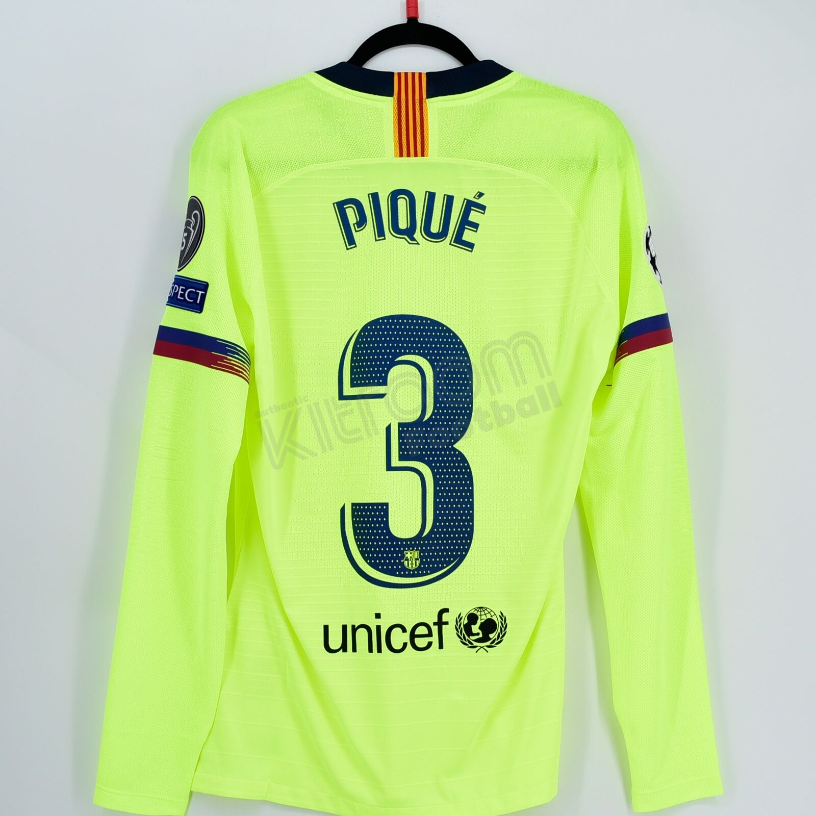 201819 Barcelona Player Issue Away Shirt  3 Piqué Champions League Match Un ...