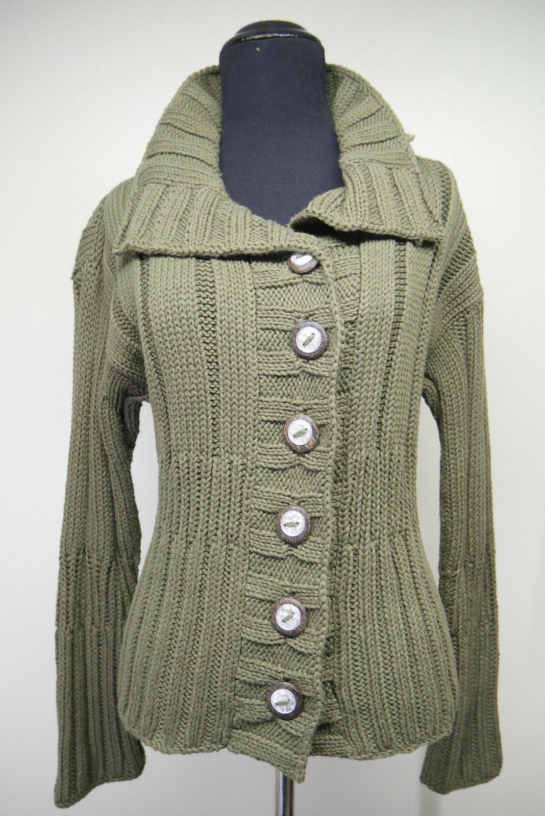 Pure Handknit Anthropologie 100% Cotton Rib Olive Sweater Sz S M