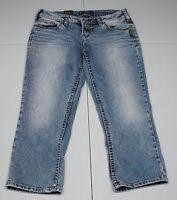 Bke Womens 31 Blue Aiko Cotton Blend Cropped Capri Jeans Nwts