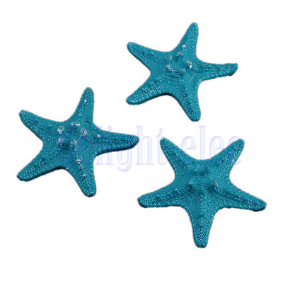 3 Blue Mini Starfish Shell Beach Sea Star Landscape Crafts Making Décor 5cm DE
