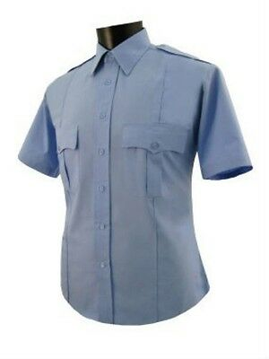 Uniform Security Guard police light Blue polyester shirt short sleeve