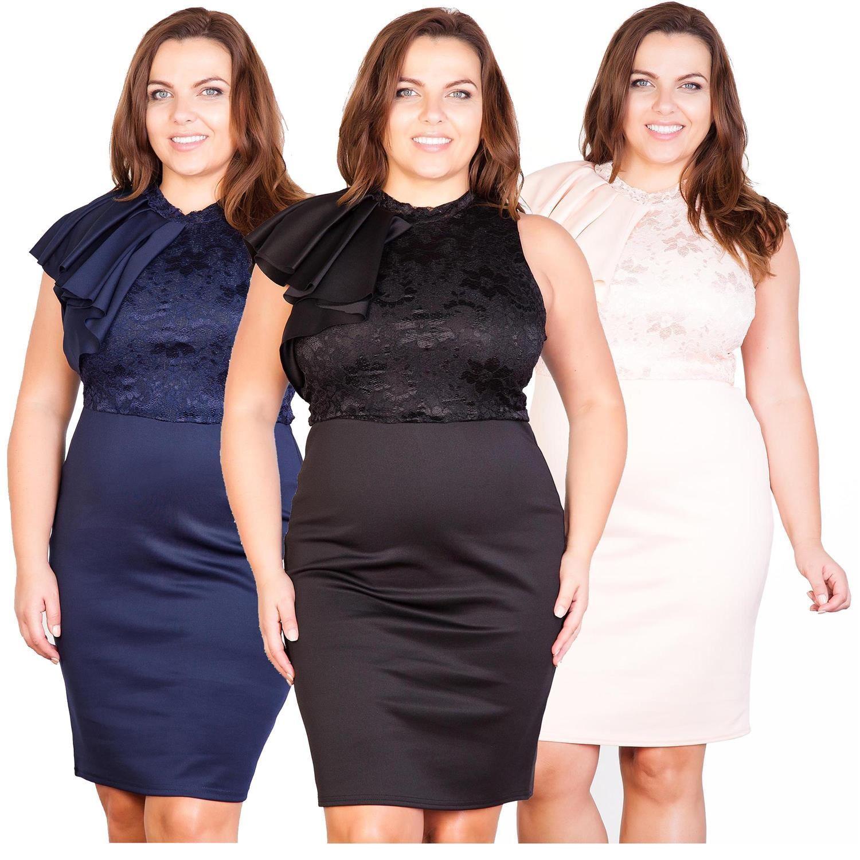 New Ladies Plus Size Frill Shoulder Lace Dress 12-22