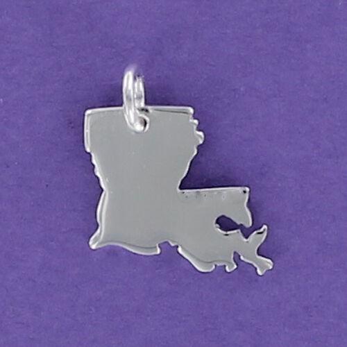Louisiana State Charm Sterling Silver for Bracelet New Orleans LA Cajun Bayou