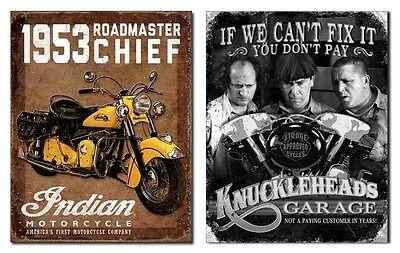 2 Tin Signs: Indian Motorcycle + Knucklehead Garage (1932+1687) metal wall decor