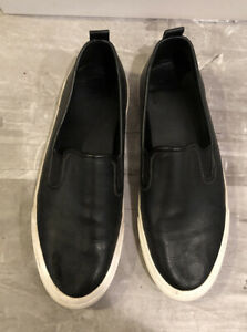 calvin klein black leather slip on casual shoes size 9