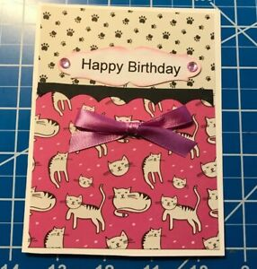 Birthday-Card-For-The-Cat-Lover-Paw-Prints-And-Cats-Pink-Ribbon-Stones-Handmade