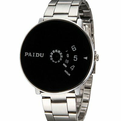 Mens Silver Black PAIDU Stainless Steel Quartz Wrist Watch Turntable Dial Hours
