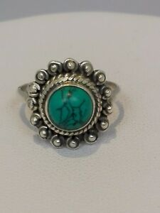 Vintage-Sterling-Silver-Turquoise-Ring-Size-L-1-2