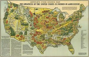 1922 PICTORIAL Map Armour food source agricultural regions United ...