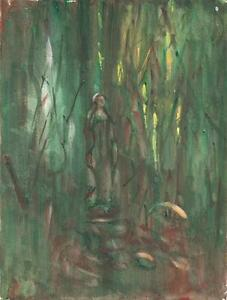 IMPRESSIONIST-FIGURE-IN-FOREST-Watercolour-Painting-INDISTINCT-SIGNATURE-1949