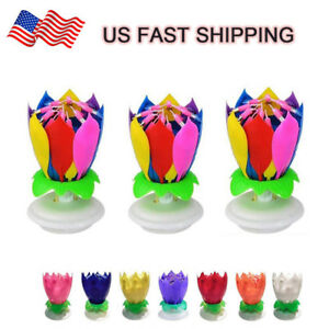 Image Is Loading Musical Birthday Cake Candle Lotus Flower Floral Rotating