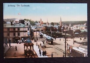 Vintage-Coloured-Postcard-ROTHESAY-THE-ESPLANADE-Unposted-VGC