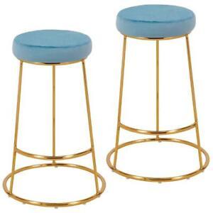 Astounding Details About Set Of 2 Light Blue Velvet Padded Seat Gold Metal Breakfast Kitchen Bar Stools Pdpeps Interior Chair Design Pdpepsorg
