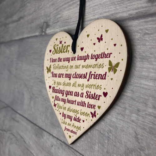 SISTER GIFTS Wood Heart Thank You Keepsake Love Plaque Best Friend Gift For Her