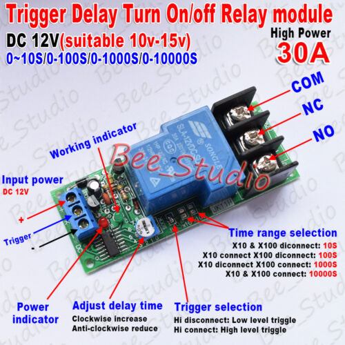 DC12V//24V Trigger Delay Timer Switch Turn ON//Off Relay Module High Power 30A PLC