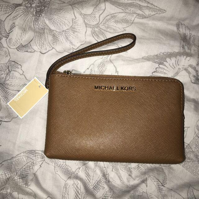 027678fc1c4ed1 Michael Kors Ladies Jet Set Double Zip leather Clutch Wristlet Purse Bag  BNWT