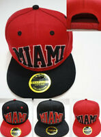 Miami 3d Snapback Hat Black Red Flat Bill Embroidered Hip Hop Fashion City Cap