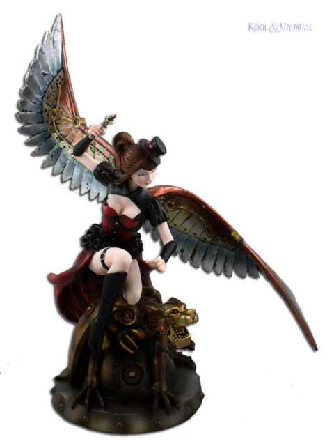 Gorgeous LARGE Statue of Steampunk Angel Riding a Clockwork Wildcat
