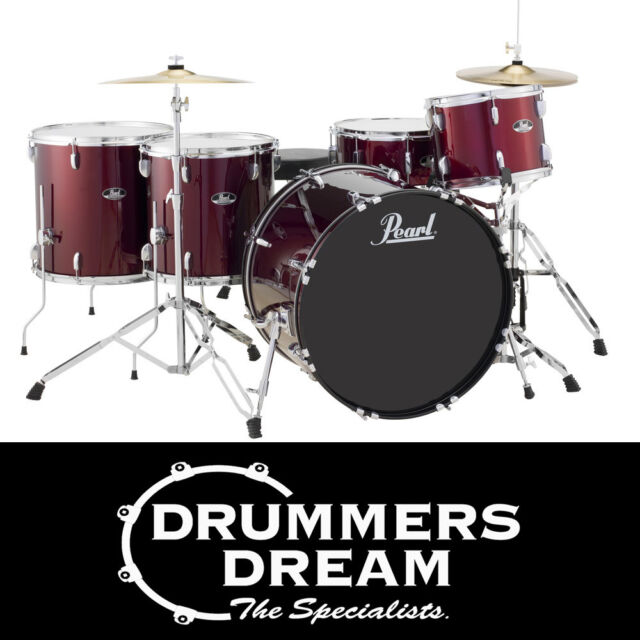 """Pearl Roadshow Rock 5 Piece 22"""" Drum Kit with Hardware & Cymbals Red Wine Finish"""