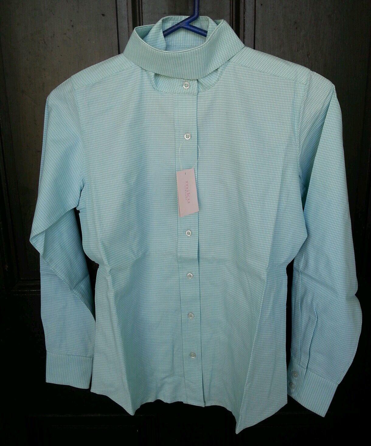 NWT MIKU CLUB Girls Green & White Cotton Long Sleeve Ratcatcher Horse Show Shirt