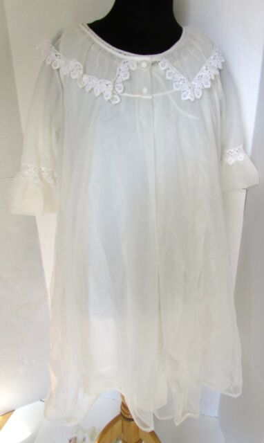 629b61168d Vintage White Ivory Sheer Set Lace Chiffon Peignoir Robe Nightgown Negligee  M