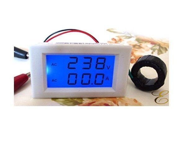 AC 300V 50A Digital Voltmeter & Amperemeter Spannung Strom Ampere +CT Shunt 220v