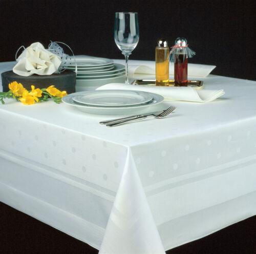 Tischdecke mit Atlaskante und Punkten 100/% Baumwolle in weiss Servietten