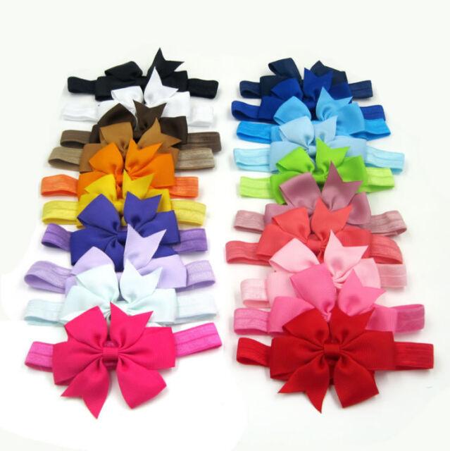 UK 20pcs Elastic Baby Headdress Kids Hair Band Girls Bow Newborn Headband