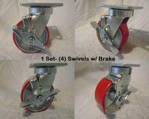 "5/"" x 2/"" Sw Caster Kingpinless Brk Polyurethane Wh on Steel1100lb ea Tool Box 4"