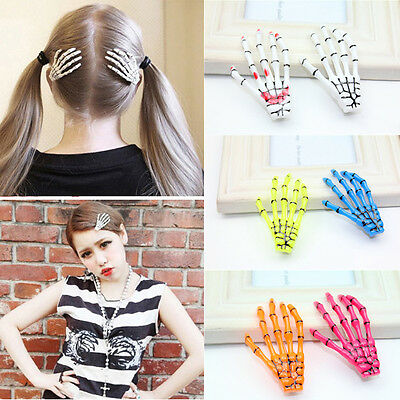 2pcs women fashion skeleton hand bone claw punk hairpin zombie horror hair clip