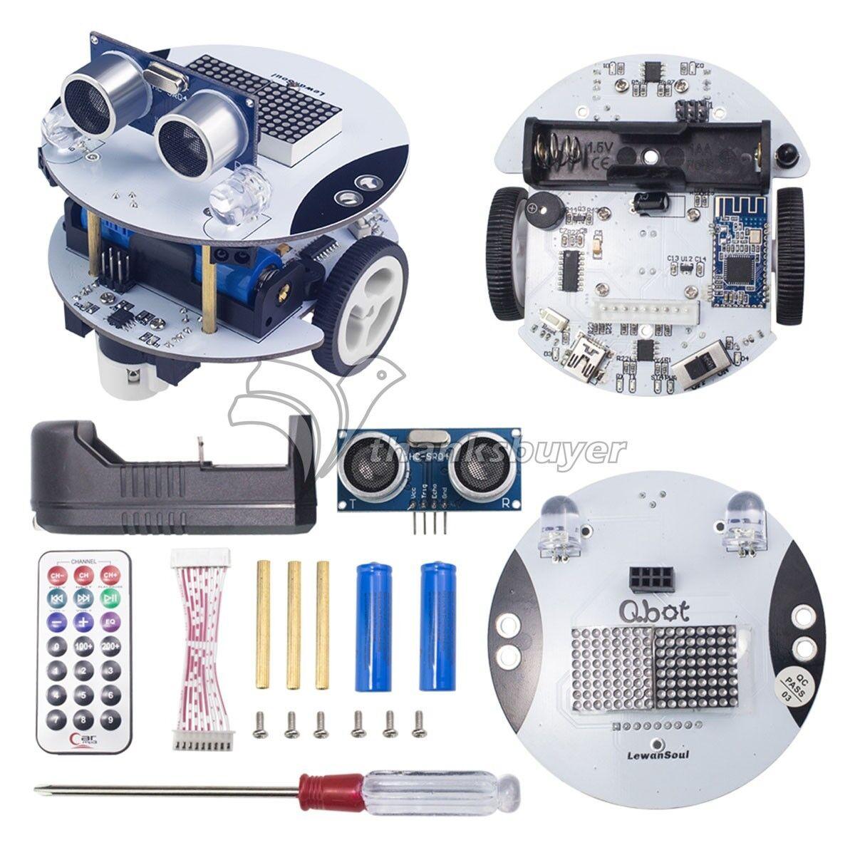Qbot Programmable Smart Robot Car Kit & Ultrasonic Light Sensor for Android APP