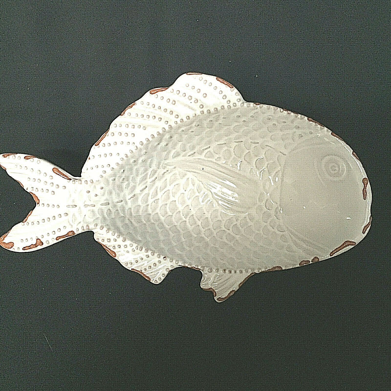 Vintage Fish Bowl White Mud Pie Terra Cotta