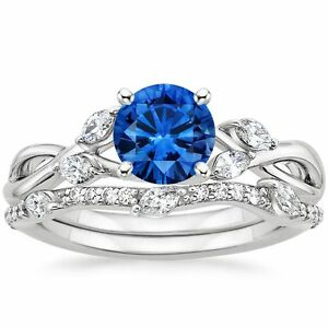 1-80-ct-Blue-Sapphire-amp-Diamond-Engagement-Ring-with-Band-Solid-14k-White-Gold