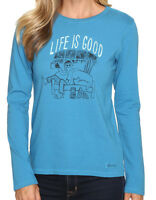 Life Is Good Painted Apres Ski Long Sleeve Crusher Tee Womens Size S