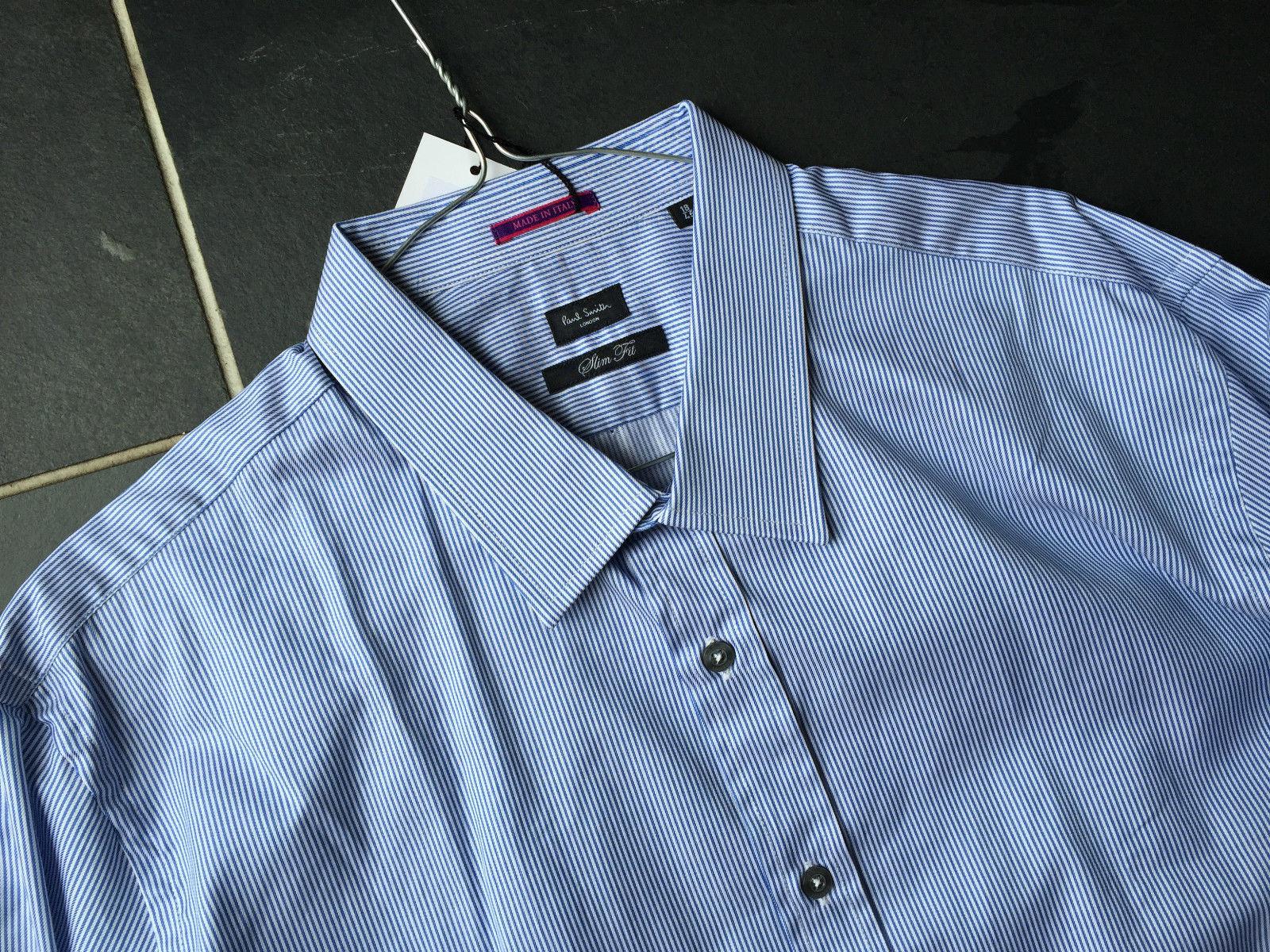 Paul Smith LONDON LS SLIM fit Shirt  Double Cuff - Size 18   45  - p2p 23