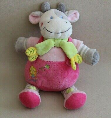 Doudou Peluche Vache Avec Salopette Rose Et écharpe Verte Feuilles Vêtir 26 Cm Possedere Sapori Cinesi