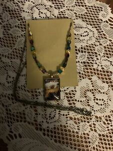 Hand Painted Brown Rectangle Pendant On Beaded Chain Bronze Tone