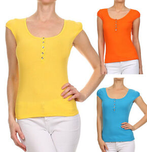 New-Women-039-s-Summer-Basic-Casual-Cap-Sleeve-Top-Ribbed-Scoop-Neck-Classic-Henley